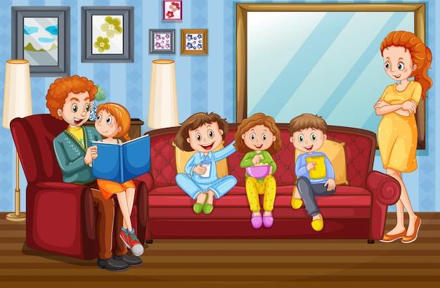 Famille heureuse à la maison