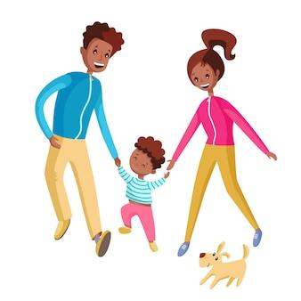 Une famille heureuse marche ensemble.