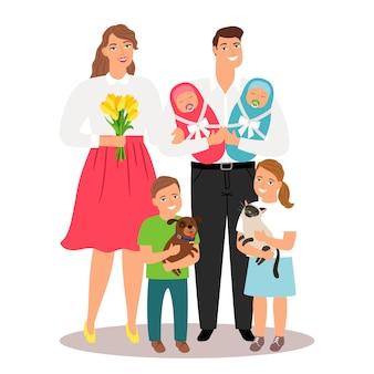 Famille heureuse, à, nouveau né, jumeaux, et, animaux familiers