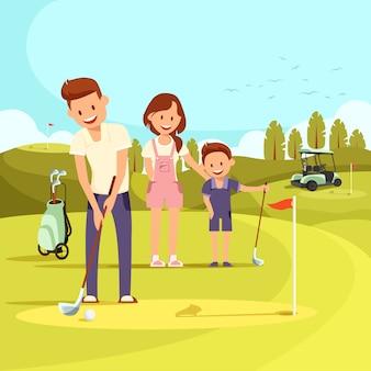 Famille heureuse sur un parcours de golf jouant au golf