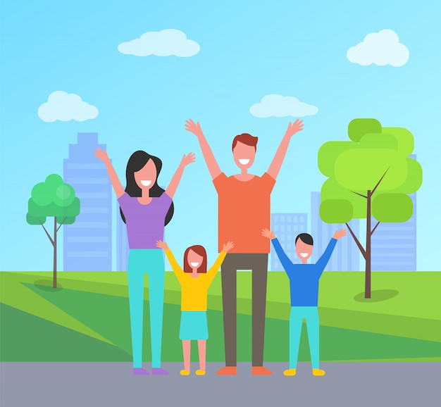 Une famille heureuse passe du temps ensemble. mère père