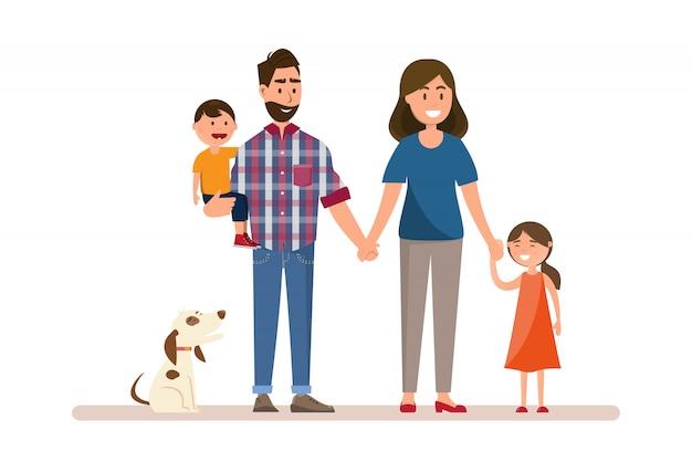 Famille heureuse. père, mère, bébé, fils et fille.