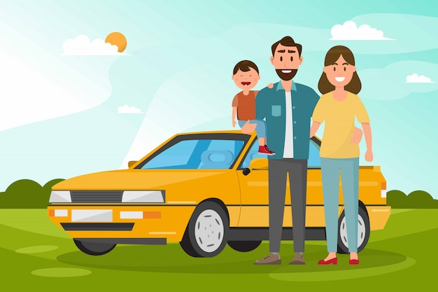 Famille heureuse. père, mère et enfants vont voyager en voiture avec fond de nature