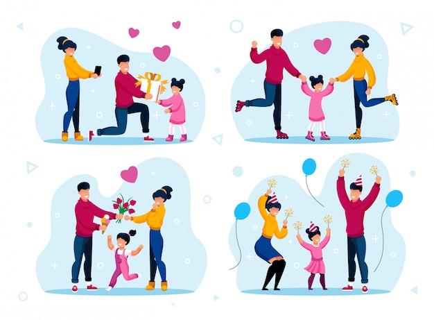 Famille heureuse et positive souvenirs plat