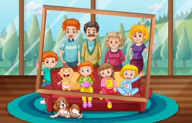 Famille heureuse prenant une photo ensemble