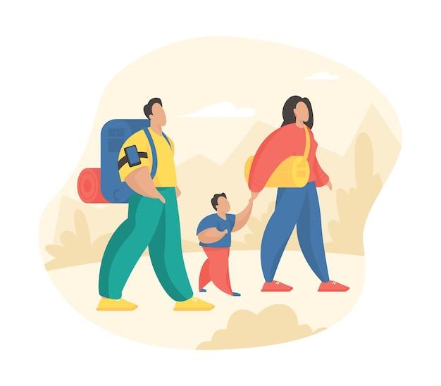 Famille heureuse randonnée nature ensemble. personnages de dessins animés père mère et fils voyageant à pied en plein air. mode de vie sportif sain et actif. illustration vectorielle plane