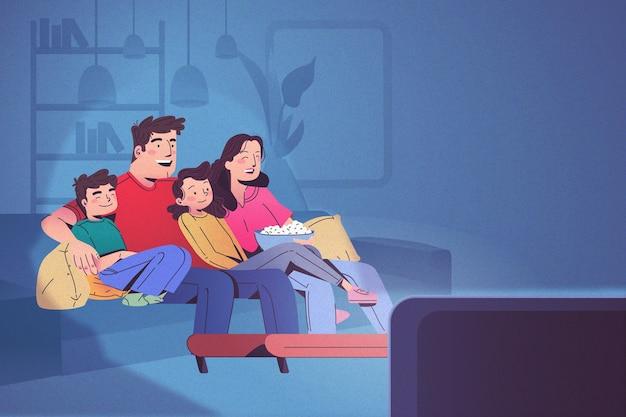 Famille heureuse, regarder télé, ensemble