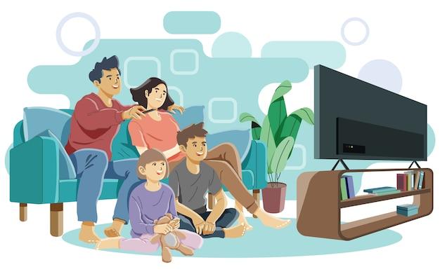 Famille heureuse, regarder la télévision ensemble