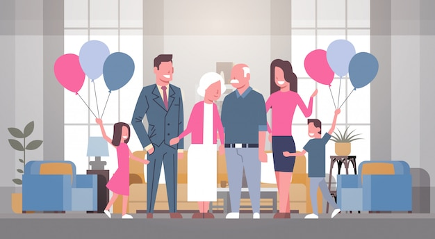 Famille heureuse réunissant grand-père et grand-mère avec la journée des grands-parents