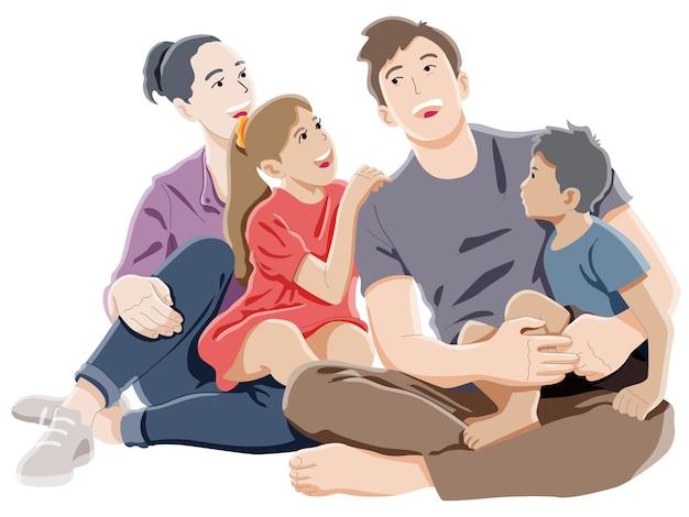 Famille heureuse, rire ensemble, concept