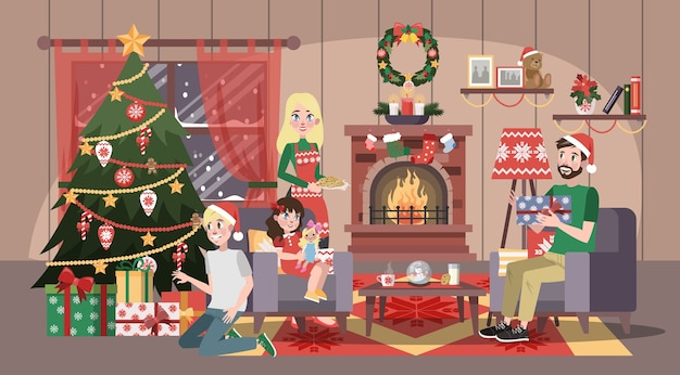 Une famille heureuse s'amuse à la fête de noël. fête à la maison avec des cookies. célébrer la nouvelle année. intérieur du salon. illustration vectorielle en style cartoon