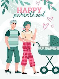 Une famille heureuse se promène avec un nouveau-né allongé dans un landau une illustration vectorielle