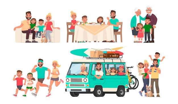Une famille heureuse se repose, mange à table, part en voiture, fait du sport, marche. grand-mère et grand-père avec petits-enfants.