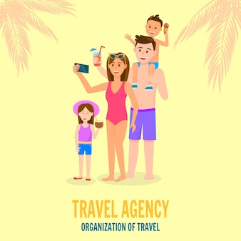 Famille heureuse en vacances d'été