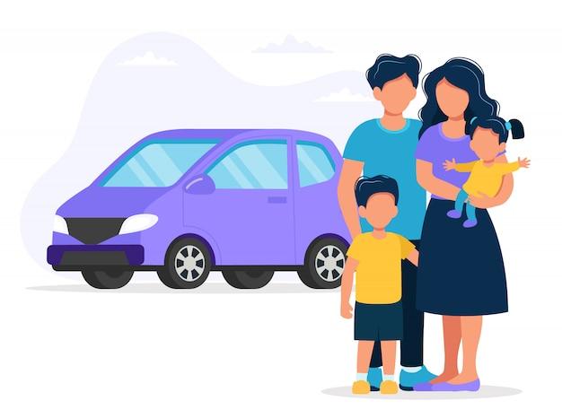 Famille heureuse avec voiture. illustration de concept pour acheter une voiture ou voyager.