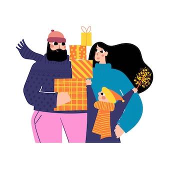 Famille en hiver, illustration dessinée à la main