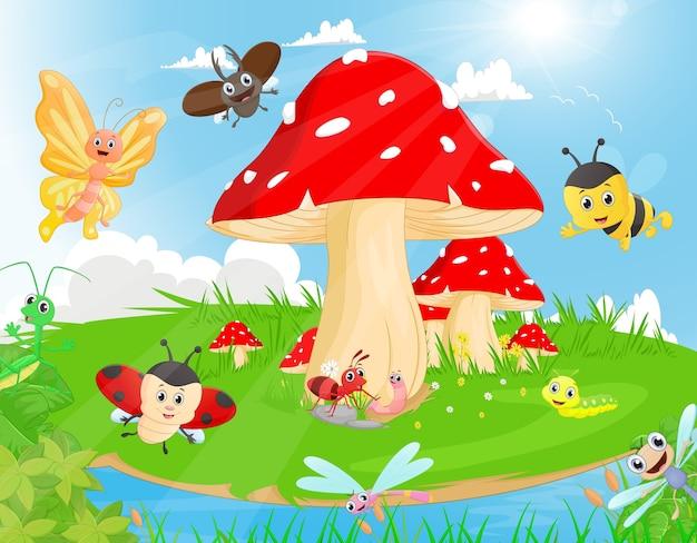 Famille d'insectes dans le jardin avec des champignons