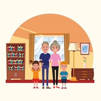 Famille à l'intérieur de dessins animés
