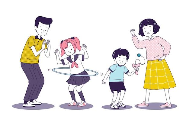 Famille japonaise jouant à des jeux ensemble