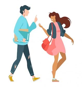 Famille jeune couple garçon et fille marchant ensemble belle illustration. partenaires masculins et féminins heureux, équipe, partenariat