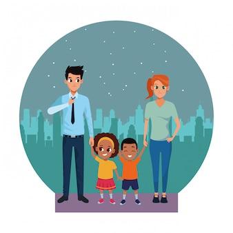 Famille jeunes parents avec petit enfant