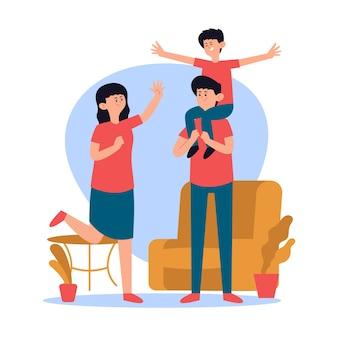 Famille jouant ensemble à la maison