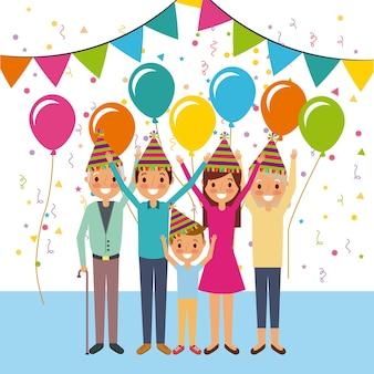 Famille joyeux anniversaire fête d'anniversaire ballons banderoles décoration
