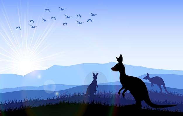 Famille de kangourous debout à l'heure du matin