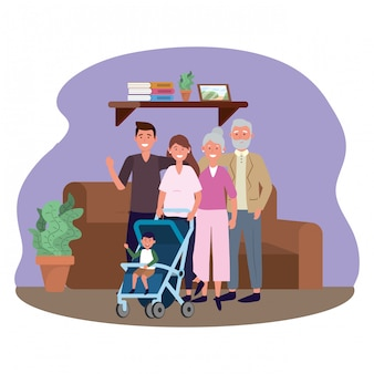 Famille avec landau