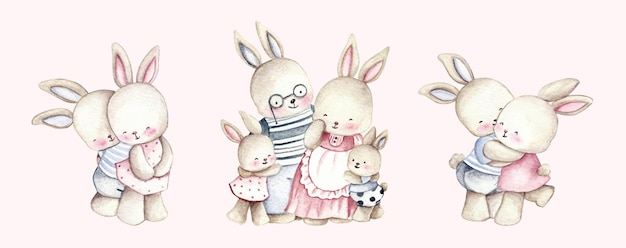 Famille de lapin aquarelle