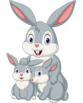 Famille de lapins heureux