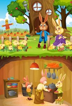 Famille de lapins en sous-sol avec surface au sol de la scène du jardin