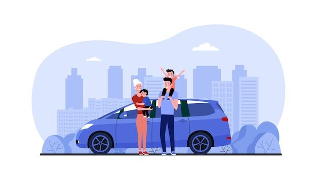 Famille avec leur monospace de voiture dans le contexte du paysage urbain abstrait. illustration vectorielle.