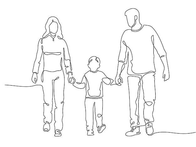Famille de ligne continue. heureuse mère, père et enfant marchant. silhouette linéaire de couple avec enfant. concept de vecteur de contour de protection de la famille. enfance heureuse, parents se tenant la main avec son fils