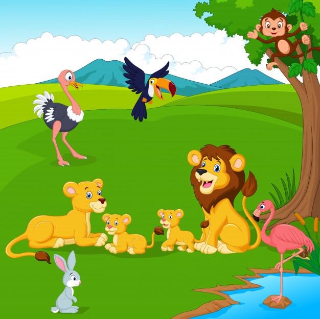 Famille de lion de bande dessinée dans la jungle