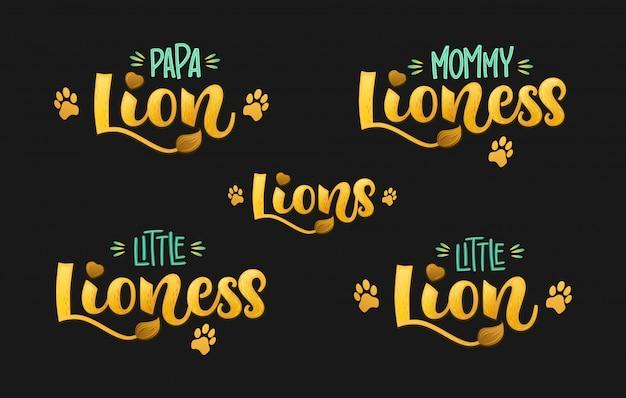 Famille lions ensemble main couleur dessiner texte de lettrage script calligraphie