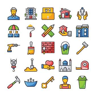 Famille et maison icônes plates