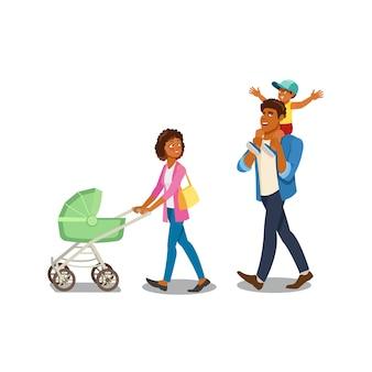Famille marchant avec le vecteur de dessin animé pour enfants