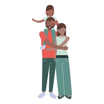 Famille avec mari et fille