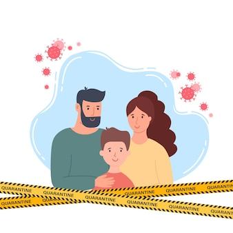 Famille en masque facial médical blanc ensemble de concept d'illustration de quarantaine de coronavirus