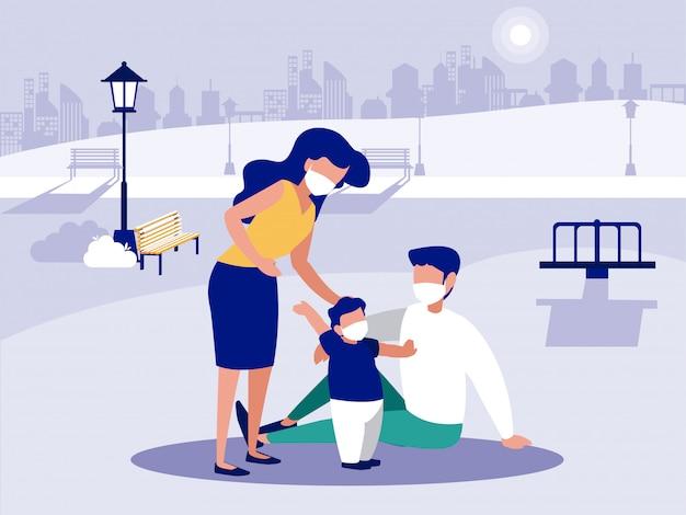 Famille avec masques au parc