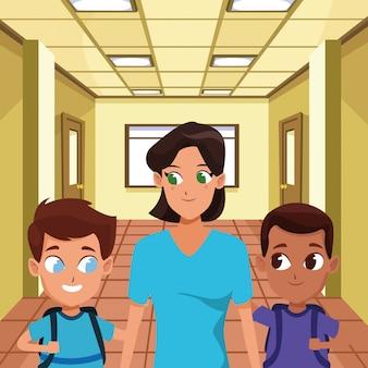 Famille mère célibataire avec deux enfants