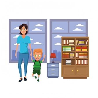 Famille mère célibataire avec enfant
