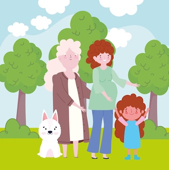 Famille mère mamie fille chien