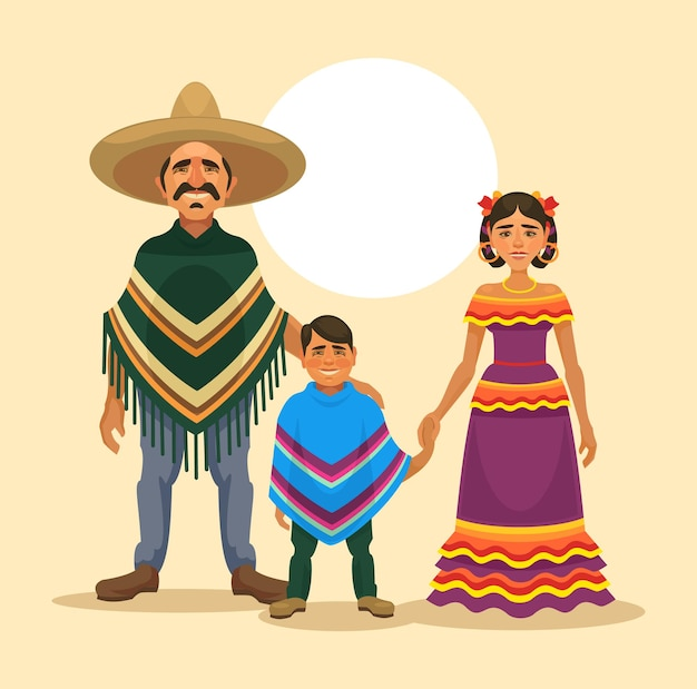 Famille mexicaine, illustration plate