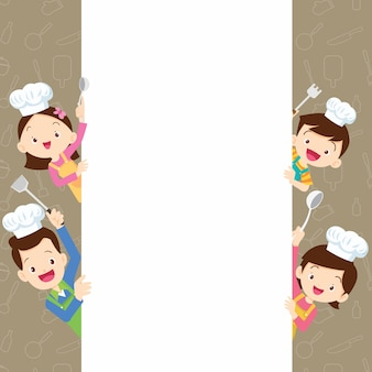 Famille mignonne cuisine heureuse avec cadre d'espace