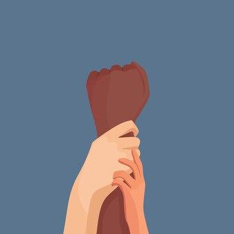 Une famille multinationale mains jointes égalité raciale aucune discrimination illustration vectorielle
