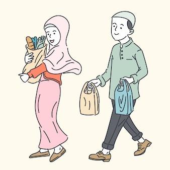 Famille musulmane heureuse, illustration de dessin animé de ligne simple