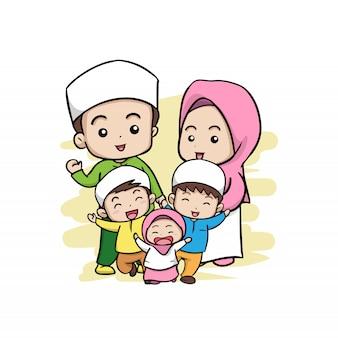 Une famille musulmane heureuse
