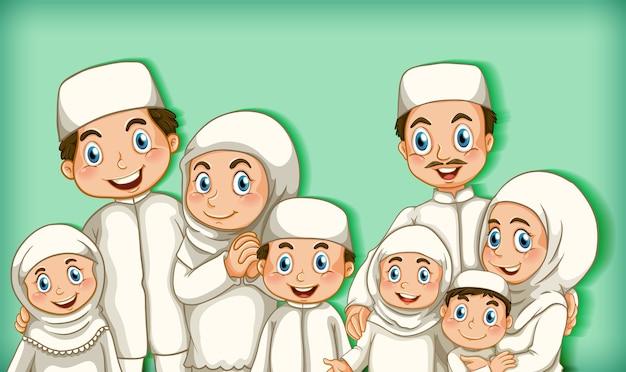 Famille musulmane sur vert